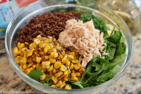 Quinoa Spinach Salad with Tuna and Corn