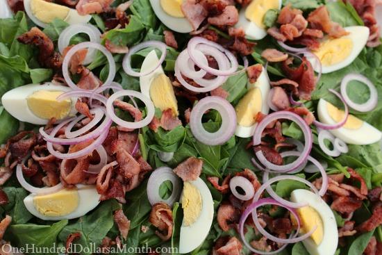 Spinach Salad w Bacon Dijon Dressing