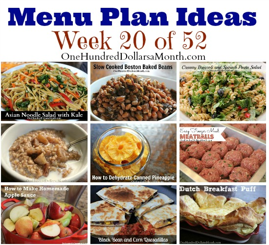 weekly menu plan ideas
