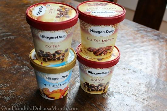 haagen dazs ice cream and peach sorbet