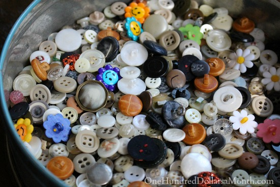 old buttons in a tin box