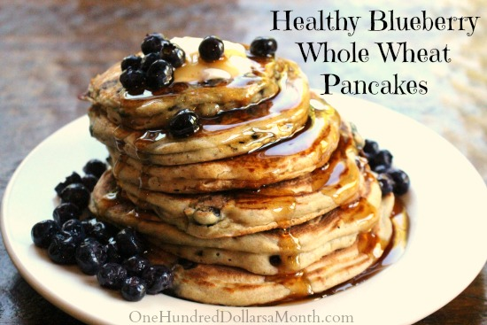 Healthy Blueberry Whole Wheat Pancakes