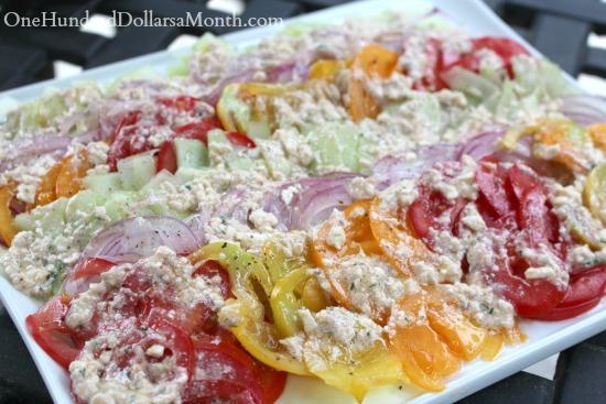 Tomato, Cucumber and Onion Salad w Feta