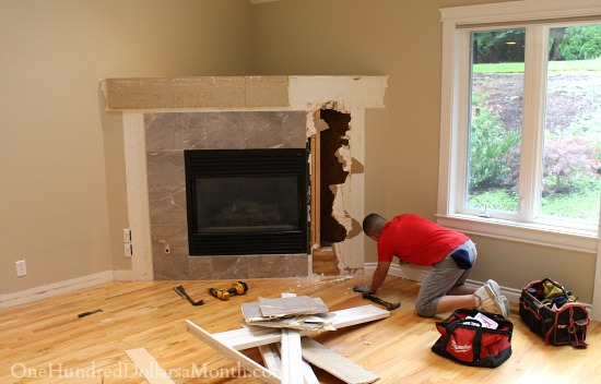 tearing out a corner fireplace