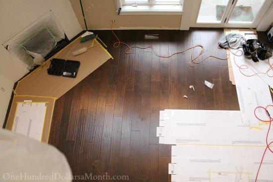dark hardwood floors white kitchen