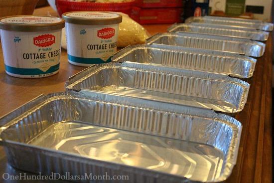 foil pans lined up for freezer meals