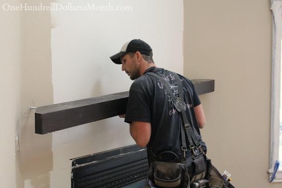 installing wood beam mantel