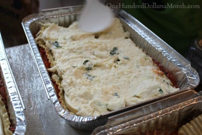 Freezer Meal Lasagna with Goat Cheese, Mozzarella and Fresh Basil