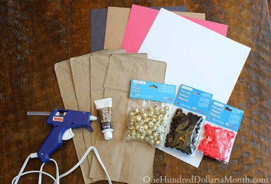 Paper Bag Reindeer Puppets supplies