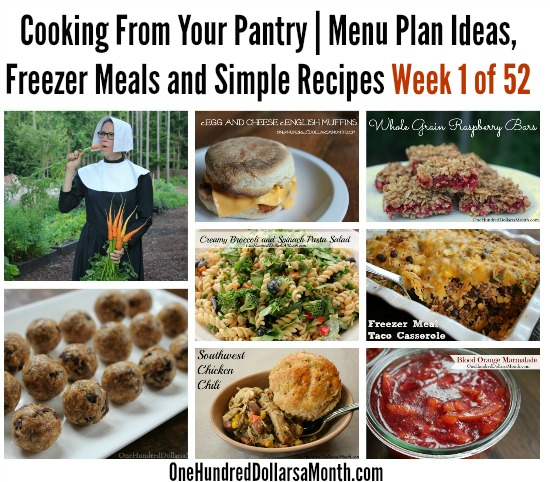 Cooking From Your Pantry  Menu Plan Ideas, Freezer Meals and Simple Recipes Week