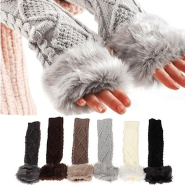 fingerless fur gloves