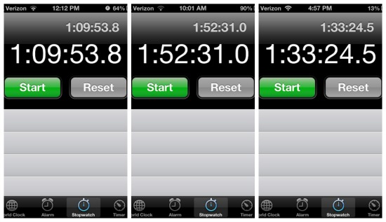 iphone stopwatch