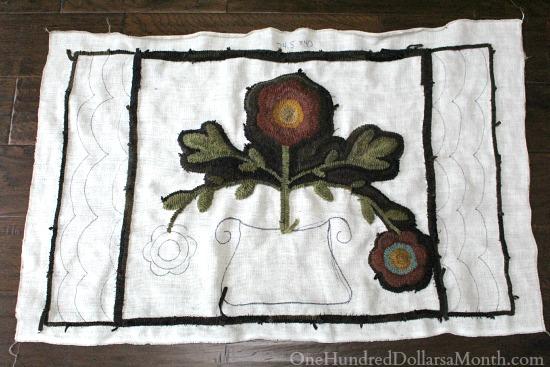 primitive hooked flower pot rug