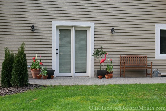 garden bench side of house