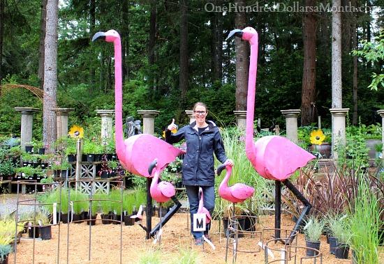 10 foot tall tin flamingo