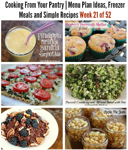 Cooking From Your Pantry  Menu Plan Ideas, Freezer Meals and Simple Recipes