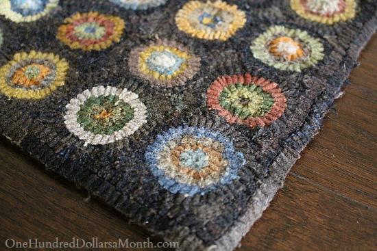 penny circle hooked rug