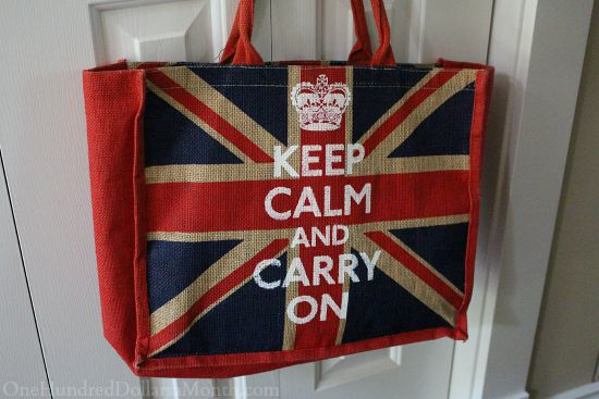 keep calm and carry on jute tote