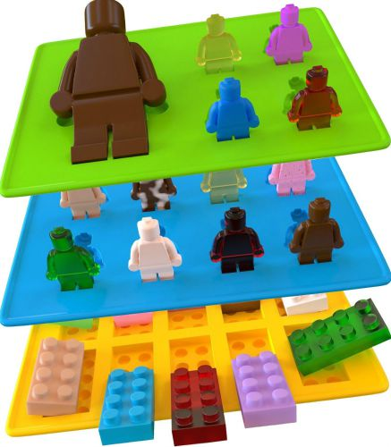 3 Pack - Candy Molds & Silicone Ice Cube Tray - Lego Building Blocks, Jello and Toy Figures
