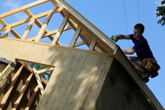 building roof on shed