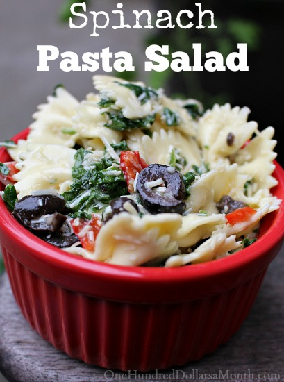 Spinach Pasta Salad with Black Olives and Peppers