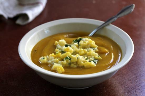 winter squash soup with corn relish