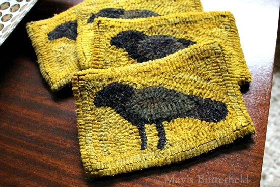 primitive crow hooked rug