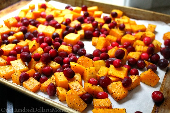 Roasted Butternut Squash Feta and Cranberries