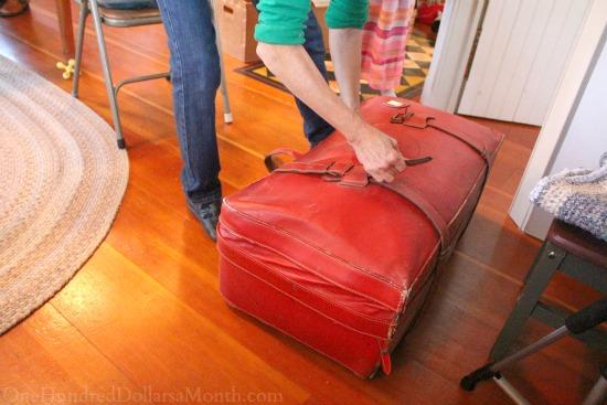 wool suitcase for rug hooking braiding