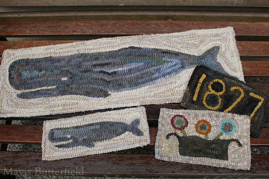 folk art whale nantucket hooked rug