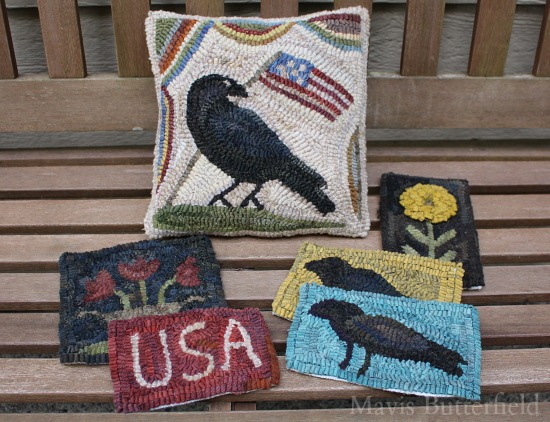primitive hooked rug crow pillow
