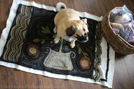 primitive hooked flower rugs