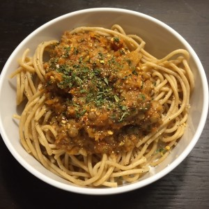 Lentil and Root Vegetable Bolognese over Pasta