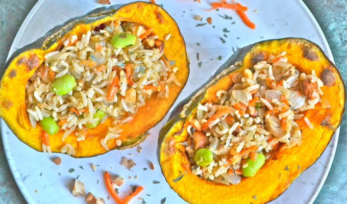 "Stuffed Squash with Healthy ""Fried"" Rice"