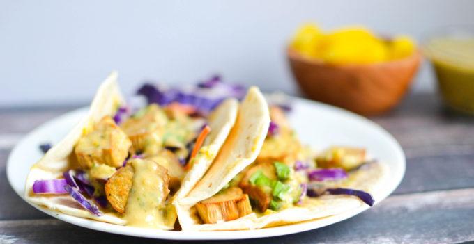 Roasted Mushroom Tacos with Pineapple Miso Dressing