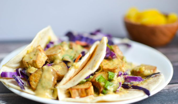 Roasted Mushroom Tacos with Pineapple Miso Dressing