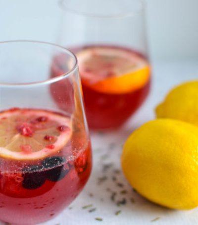 Healthy Lemonade with Berries and Lavender
