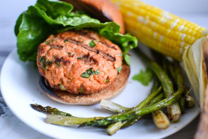 Harissa Spiced Salmon Burgers