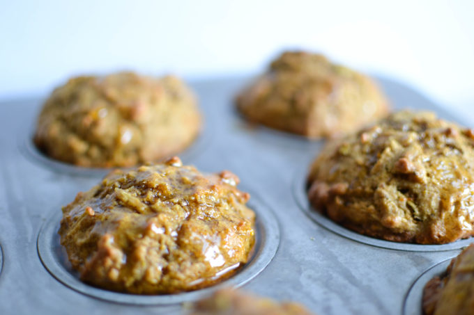 Lavender Honey Glazed Healthy Apple Muffins