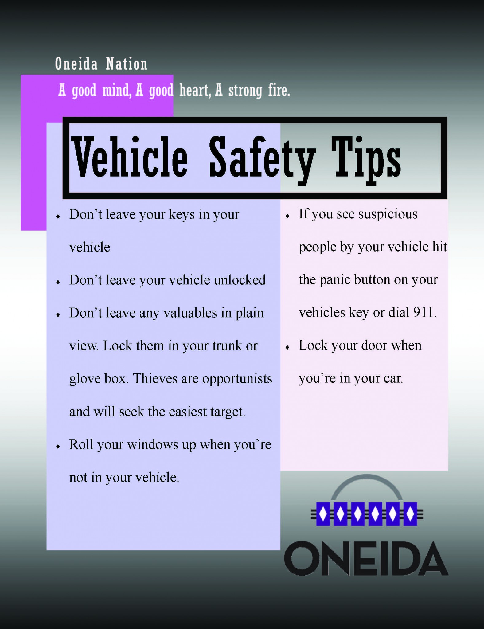 Pin by Oneida Nation of Wisconsin (Official) on Oneida Police Dept (OPD) Safety Tips | Pinterest