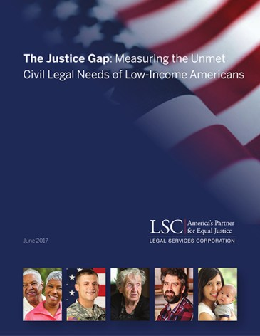Image of the cover of the Justice Gap report by LSC