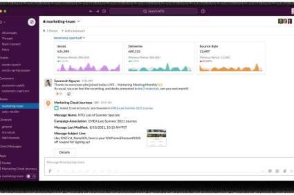 Slack potencia Salesforce Customer 360 para las ventas, el servicio, el marketing y la analítica
