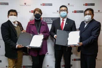 Ministerio de Vivienda y UNOPS firman convenio para licitar megaproyecto de agua y saneamiento en Juliaca