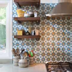 Mexican Backsplash Tiles Kitchen Birch Cabinets Create A Decorative With Cement