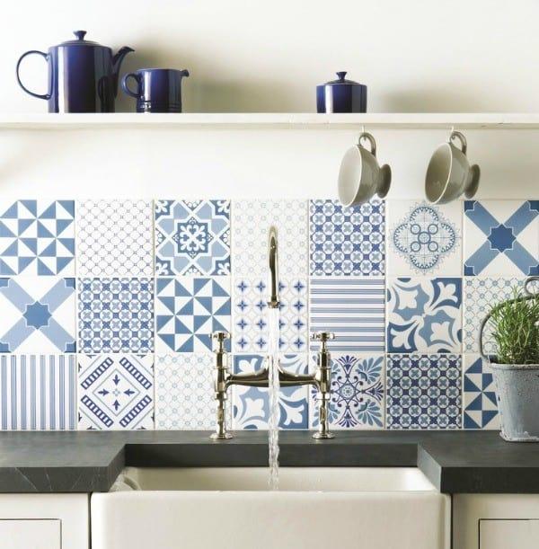 Create a decorative kitchen backsplash with cement tiles - Design your own backsplash ...