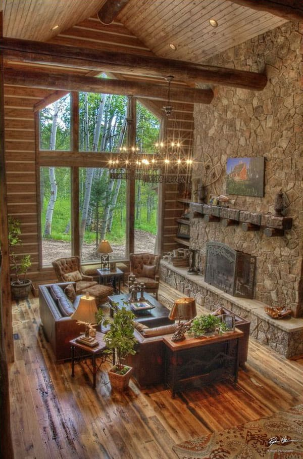 exciting log cabin cozy living rooms | 47 Extremely cozy and rustic cabin style living rooms