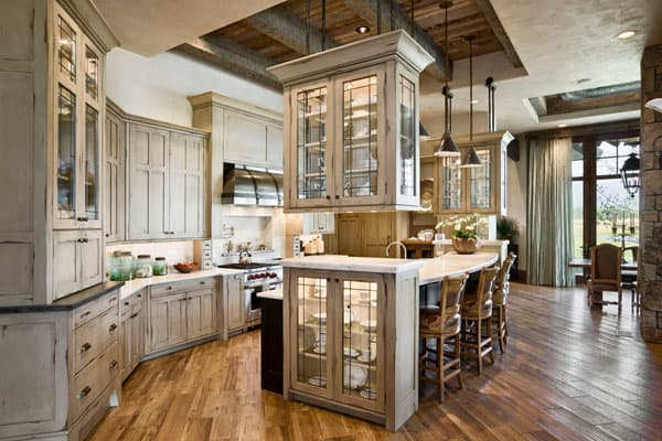 open rustic kitchen cabinets 53 Sensationally rustic kitchens in mountain homes