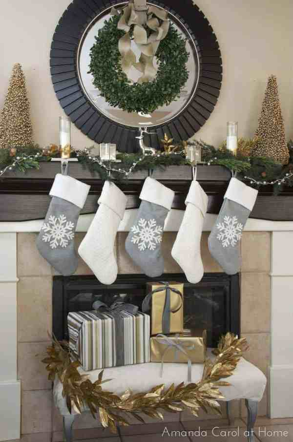 Silver Christmas Mantel Decorating Ideas