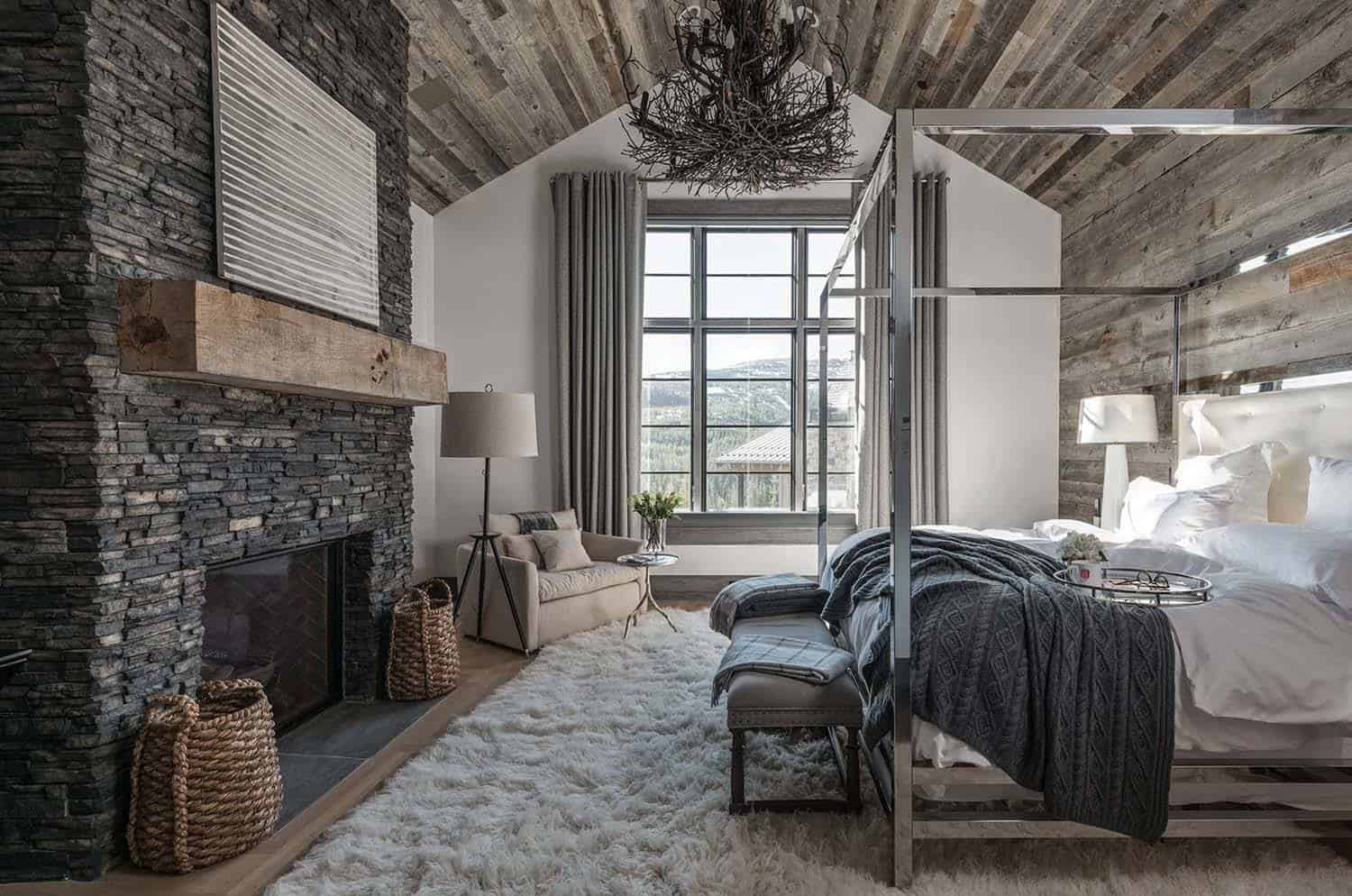 Ski in ski out chalet in montana with rustic modern styling for Architectural designs for chalets