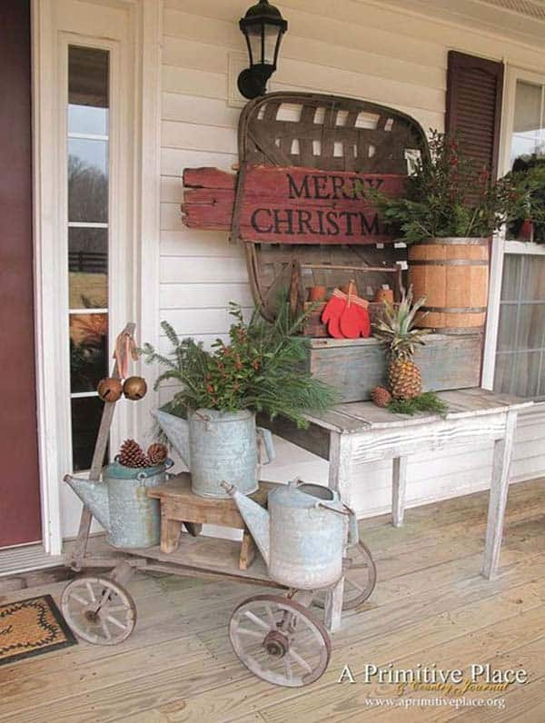 40 fabulous rustic country christmas decorating ideas for Country chic christmas